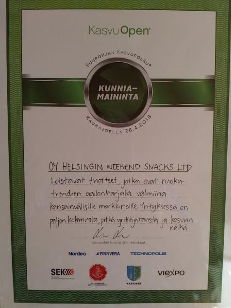 Oy Helsingin Weekend Snacks Ltd sijoittui toiseksi