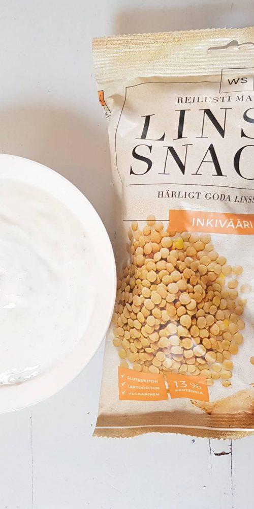 WS Snacks ja itse tehty vegaanidippi